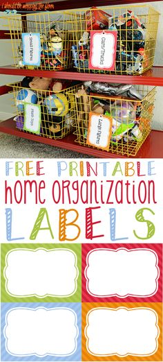 Free Printable Home Organization Labels | Download and use with word processing software or write on with permanent markers. Perfect for toy storage, pantry storage, and so much more.