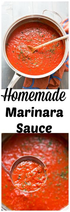 Skip the jarred stuff, a homemade marinara sauce is the way to go!This simple sa… Skip the jarred stuff, a homemade marinara sauce is the way to go!This simple sauce has many uses and it's incredibly simple to make! Sauce Recipes, Pasta Recipes, Chicken Recipes, Cooking Recipes, Catering Recipes, Tortellini Recipes, Parmesan Recipes, Casserole Recipes, Homemade Marinara