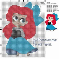 Little chibi Ariel 2 Disney princess free cross stitch pattern 50x64 8 colors