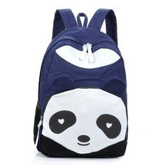 Forever Lover Fashion Cute Panda Vintage Canvas Backpack Rucksack School Bag Satchel for Teen Girls and Boys (Dark blue)