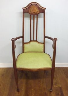 Arts and Craft chair re upholstered and for sale at the NEC, Antiques for Everyone show, for Pure Imagination.