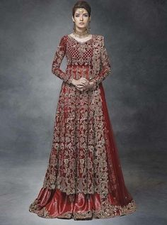 Minus The Angry Looking Indian Wedding Dress Model This Gown Looks Amazingly Modern Red And Beige With