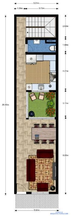 Planos de casa pequeña de dos pisos, ideas para construir en lotes angostos Narrow House Designs, Narrow House Plans, Small House Design, Small House Plans, House Floor Plans, Casa Patio, Compact House, D House, Container Design
