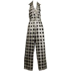 1970s Vintage Metallic Houndstooth Disco Jumpsuit | From a collection of rare vintage suits, outfits and ensembles at https://www.1stdibs.com/fashion/clothing/suits-outfits-ensembles/