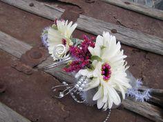 White gerber daisy prom corsage and bout - Cambridge, NE