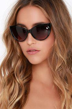 Purr-haps Black Sunglasses at Lulus.com! Black Sunglasses daad40e55e