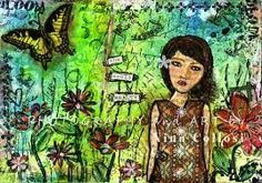 Girl with Flowers, Mixed Media Collage