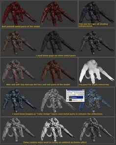 ::LINK:: Rendering Models using Zbrush by Vitaly Bulgarov Zbrush Tutorial, 3d Tutorial, Digital Art Tutorial, Sculpting Tutorials, Art Tutorials, Red Paint, Metallic Paint, Character Modeling, 3d Modeling