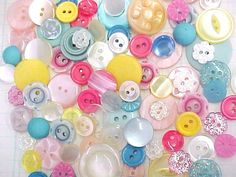 Pretty Petite Pastel Mix Vintage Plastics Sewing Buttons  by nickelnotions