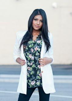 chic white blazer with shawl lapels and one button closure. #bellaellaboutique
