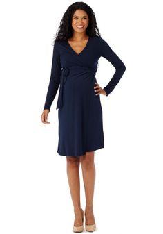 622cea721dd63 front Maternity Dresses, Wrap Dress, Spandex, Dresses For Work, Navy, Colors
