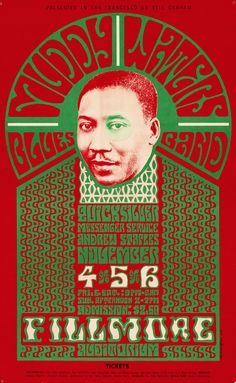 psychedelic-sixties:  Muddy Waters Blues Band/Quicksilver Messenger Service/Andrew Staples, November 4-6, 1966 - Fillmore Auditorium (San Francisco, CA.) Art by Wes Wilson