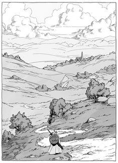 """ma-ko on Twitter: """"#inktober #Inktober2018 #inktoberday7… """" Landscape Drawings, Landscape Illustration, Landscape Art, Illustration Art, Environment Sketch, Concept Art Tutorial, Nature Sketch, Background Drawing, Landscape Concept"""