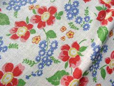 Vintage Feedsack Poppies & Blue Forget-me-nots