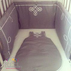 Sleeping bag and cot Gandoura grey set for baby moroccan style - Ensemble gigoteuse et tour de lit inspiration marocaine Gandoura style gris