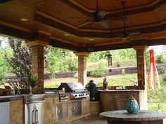 Outdoor kitchen with space for Green Egg smoker that I want.