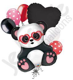 Love Struck Panda Happy Valentines Day Balloon Bouquet