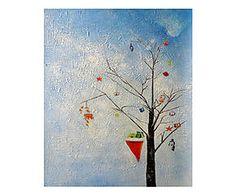 Dipinto a mano su tela L'albero dei doni - 50x60 cm