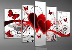 Home Decor Hand Painted Red Love Heart Butterfly Oil Painting For Living Room Wall Pictures 5 Piece Canvas Art Pintura a Oleo $62