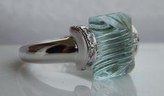 Natural Genuine Gemstone Aquamarine Ring, Carved Gemstone, Aqua color Gemstone Jewelry, 925 Sterling Silver Ring, Carving Aquamarine, Sz 7 by MitikaJewels on Etsy