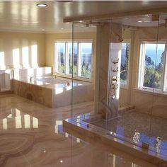 bathroom inspo Next Level Marble Bathroom Via luxclubboutique Das Leben ist kurz . Dream Bathrooms, Dream Rooms, Beautiful Bathrooms, Mansion Bathrooms, Fancy Bathrooms, Mansion Rooms, Dream Home Design, My Dream Home, Home Interior Design