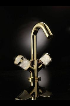 maier single hole lav faucet in polished gold with diamond knob handles - the ultimate guide to luxury plumbing by the delight of design Lavatory Faucet, Bathroom Faucets, Shower Faucet, Gold Bathroom Accessories, Bathroom Design Luxury, Bathroom Designs, Bathroom Ideas, Luxury Bathrooms, Luxury Kitchens