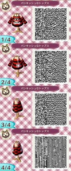 Animal crossing new leaf red and black stripes skull top qr code