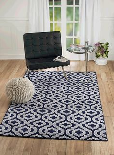 NEW Summit Elite # 43 Navy Grey White Moroccan Trellis Modern Abstract Area  Rug Multi Color Many Sizes Available Door Mat Actual Is 22 Inch X 35 Inch)