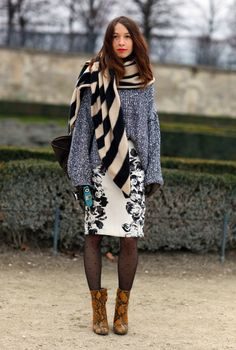 stripes, comfy sweater, floral skirt, polka dot tights & snakeskin boots   just lovely