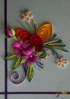 Neli is a talented quilling artist from Bulgaria. Her unique quilling cards bring joy to people around the world. Neli Quilling, Quilling Paper Craft, Quilling Flowers, Paper Flowers, Quilling Patterns, Quilling Designs, Quilling Ideas, Origami, Fun Crafts