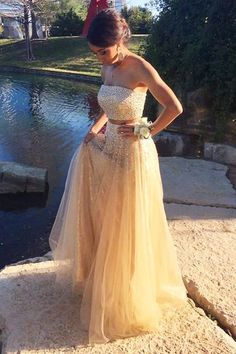 Charming Prom Dress,Two Pieces Prom Dress,Beading Prom Dress,Strapless Prom
