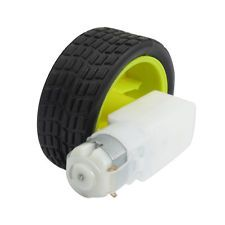 $7.59 15RPM 3V Monoaxial DC Geared Motor w Plastic Tire Wheel for DIY Robot Smart Car