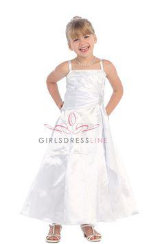 White Brilliant Satin Rufflel Detail A-line Flower Girl Dress with Sparkles L4305-WH2 $59.95 on www.GirlsDressLine.Com