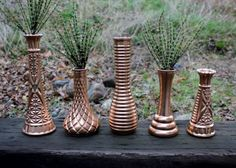 milk glass vases get the glam treatment with copper paint. Perfect for a rustic glam Love this look! Rustic but chic Copper Wedding, Wedding Centerpieces, Rustic Wedding, Wedding Vintage, Centerpiece Ideas, Floral Wedding, Wedding Colors, Wedding Ideas, Wedding Stuff