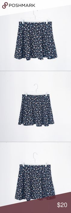 OLSENBOYE FLORAL HIGH WAISTED SKATER SKIRT WAIST: 15 1/2 inches, material also stretches for additional inches. LENGTH: 18 inches. Olsenboye Skirts