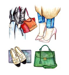 Fashion set illustration is a combination of four street style look with accent on accessories.