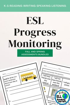This mega bundle provides you with progress monitoring assessments for ESL ELL EFL EAL ESOL students in grades K-5. **Reading Writing Listening and Speaking** Progress Monitoring, Ell, Teacher Pay Teachers, Assessment, Sentences, Curriculum, Education, Writing, Fourth Grade
