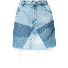 Prps Patchwork Denim Skirt (€295) ❤ liked on Polyvore featuring skirts, knee length denim skirt, blue skirt, patchwork skirts, denim skirt and blue denim skirt