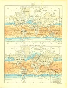 1910s World Oceans Map Marine Temperature by CarambasVintage, $16.00