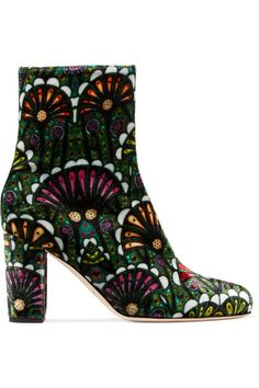 Brian Atwood's 'Talise' boots are made from plush velvet, printed with a jewel-toned pattern. This Italian-made pair is set on a comfortable 80mm block heel and is designed to hit just above the ankle. Accentuate their '70s mood with kick flares.