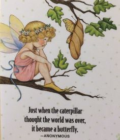 Handmade Fridge Magnet-Mary Engelbreit Artwork-Just When The Caterpillar