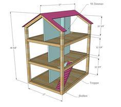 Puppenhaus Bauplan Holz selber machen Kinderzimmer