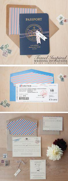 Travel inspired wedding invitations! Perfect for a destination wedding. Design by Jen Simpson Design #DestinationWedding