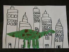 "Kindergarten Art In Art class, we read the story ""If the Dinosaurs Came Back."" We were inspired to use squares and rectangles to draw a city scene with marker. Then we drew and cut shapes to create a dinosaur! Elementary Art Rooms, Art Lessons Elementary, Elementary Drawing, Dinosaur Art, Dinosaur Projects, Dinosaur Activities, Art Activities, Kindergarten Art Lessons, Art Classroom"