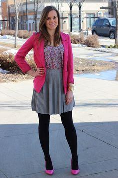 Pink blazer + dress + black tights and pink heels. Love