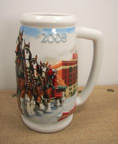 Budweiser Clydesdales 75 Years Of Proud Tradition 2008 Christmas Holiday Stein