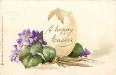 A HAPPY EASTER  egg to right of bunch of violets