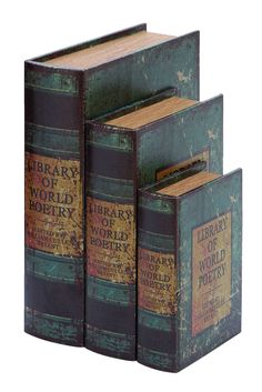 Shop woodland imports 61411 world map leather faux book boxes set wood and leather book boxes 13h 8h bywoodland imports gumiabroncs Image collections