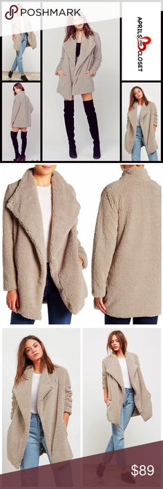 """❌SOLD ⭐️⭐️ BB DAKOTA For Urban Outfitters Coat 💟 NEW WITH TAGS💟 ***SIZING- Tagged size XS, oversized, will easily fit sizes 2-6 (XS-S), listed accordingly. **BB DAKOTA For Urban Outfitters** Faux Fur Coat  * A relaxed draped boyfriend loose knit fit  * Incredibly soft & lined faux fur construction  * Front button closure, drape collar, slash pockets, & long sleeves * About 30"""" long * Oversized fit Item# 🚫No Trades🚫 ✅Offers Considered*✅ * Fabric: 100% polyester faux fur Color- Pale Camel…"""