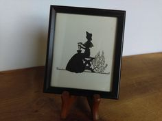 Vintage Framed Silhouette Picture Seated Victorian Lady by jessamyjay on Etsy